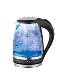 TODO 1.5L Glass Cordless Kettle Electric Blue Led Light 360 Clear Jug - Black