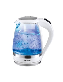 TODO 1.5L Glass Cordless Kettle Electric Blue LED Light 360 Clear Jug - White