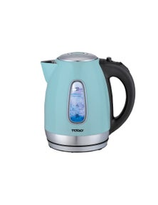 TODO 1.7L Stainless Steel Cordless Kettle 2200W Blue LED Light Electric Water Jug - Blue