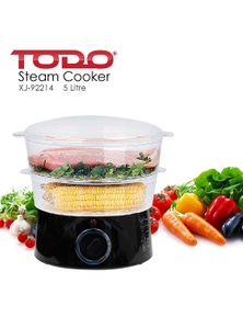 TODO 5L Stackable Steam Cooker 2 Tray 400W Power Dial Timer
