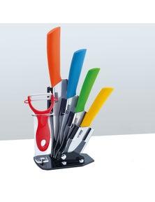 5Pcs Ceramic Knife + Peeler Set With Knive Stand Nano Zirconia Anti Bacterial