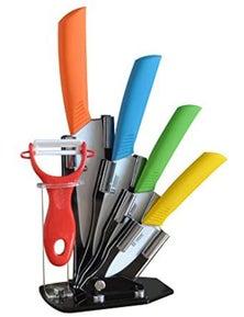 TODO 5Pc Ceramic Knife + Peeler Set W/ Knive Stand