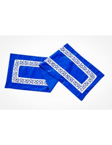 Amsons Blue Poetry 9 Piece Set Table Runner + 8 Mats