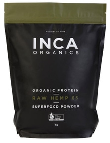 INCA Organics 1kg Protein Raw Hemp (65% Protein) Superfood Powder