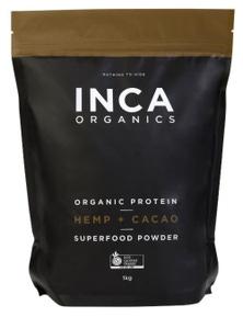 INCA Organics 1kg Protein Hemp + Cacao Superfood Powder