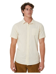 Stay Men's Crushed Mens Short Sleeve Woven Shirt Short Sleeve Linen