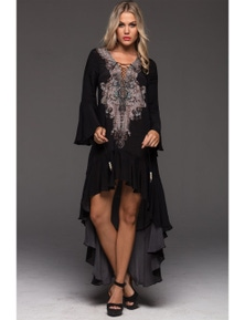Czarina Alice Hi Low Dress With Sleeves