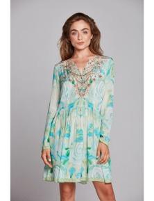 Czarina Garden Of Eden Short Dress With Sleeves