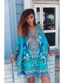 Czarina Those Blue Eyes Kaftan Dress