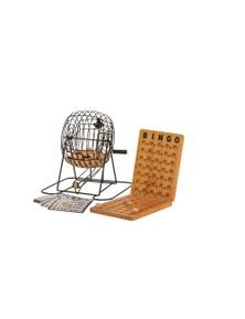 Jenjo Games Bingo w/ Metal Cage & Wooden Scoreboard