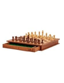Jenjo Games Chess and Checker Board Portable Wooden Set