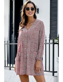 Red Printed V Neck Buttoned Long Sleeve Shirt Dress