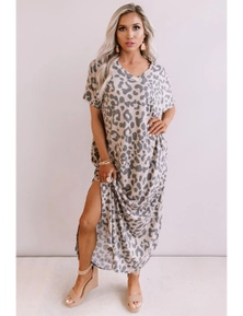 Casual Leopard Maxi Dress with Slits