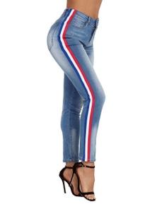 Rainbow Racer Striped Blue Skinny Jeans