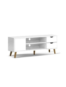 TV Cabinet Entertainment Unit Stand Wooden Scandinavian 120cm White