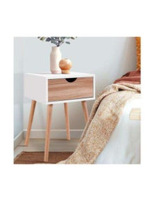 Artiss Bedside Tables Drawers Side Table - Wood Legs Bedroom White