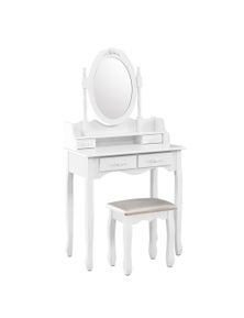 Dressing Table Stool Mirror Jewellery Cabinet 4 Drawers White Organizer