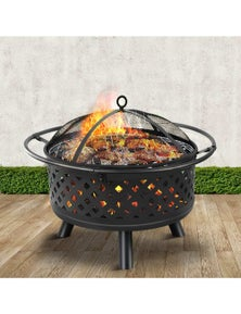 Outdoor Fire Pit BBQ Grill Portable Wood Fireplace Patio Heater 30