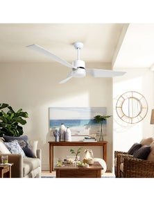 Devanti 52inch Ceiling Fan DC Motor w/Light Remote Control - White