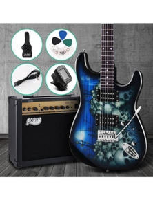 Alpha Electric Guitar Acoustic Guitar Pack With Amplifier Blue