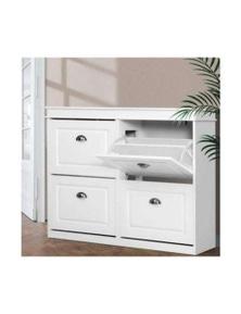 Shoe Cabinet - White 24 Pairs