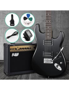 Alpha Electric Guitar Acoustic Guitar Pack With Amplifier Black