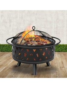 32 Portable Outdoor Fire Pit Ring BBQ Grill Wood Fireplace Patio