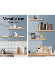 Artiss 3pcs Wall Floating Shelf Set DIY Mount Storage Book Display Rack Oak
