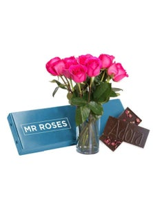 Mr Roses 12 Pink Roses & Adora Milk Chocolate