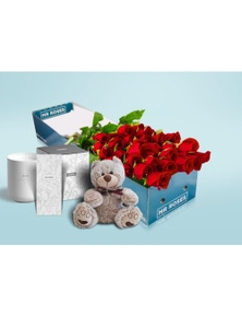Mr Roses Valentines 20 Long Red Roses, Hand Cream, Candle and Teddy