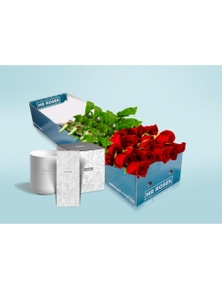 Mr Roses 12 Long Red Roses, Hand Cream & Candle