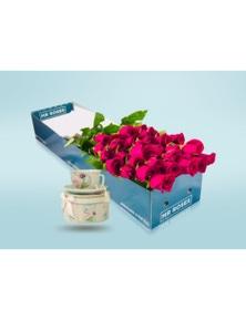 Mr Roses 20 Bright Pink Roses & Tea Cup