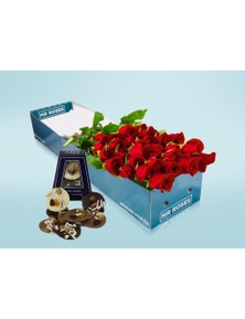 Mr Roses 20 Long Red Roses & Adora Paillettes Chocolates