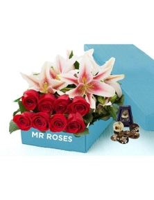 Mr Roses 5 Pink Lilies & 10 Red Roses & Adora Paillettes Chocolates