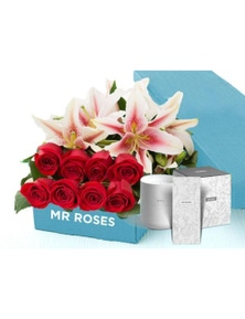 Mr Roses 5 Pink Lilies & 10 Red Roses & Hand Cream & Candle
