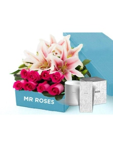 Mr Roses 5 Pink Lilies & 5 Pink Roses & Hand Cream & Candle