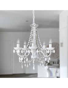 Ivory & Deene Cassie Chandelier 5 Light White Crystals