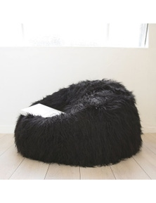 Ivory & Deene Fur Bean Bag - Black Shaggy