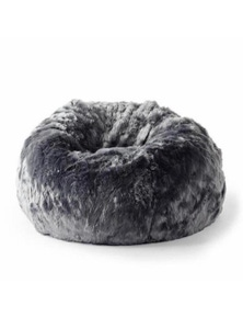 Ivory & Deene Fur Bean Bag - Charcoal Cloud