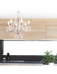 Ivory & Deene Sofia Chandelier 6 Light - Chrome