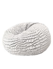 Ivory & Deene Cashmere Fur Bean Bag - Silver White