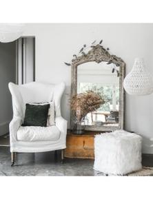 Ivory & Deene Fur Pouf Ottoman Stool - White