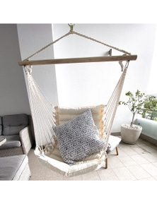 Ivory & Deene Padded Hanging Hammock Chair - Cream