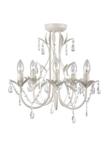 Ivory & Deene Harmony Leaf White 5 Light Chandelier