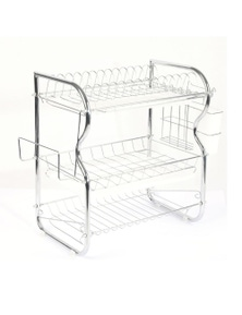 TOQUE 3 Layer Iron Chrome Plated Alloy Dish Drainer Cutlery Rack