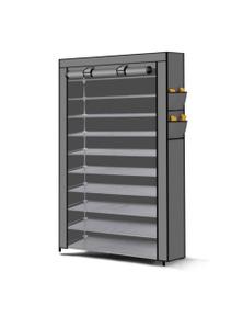 50 Pairs 10 Tiers Portable Steel Stackable Shoe Rack Storage Cabinet Organiser