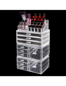 Clear Acrylic Cosmetic Organizer Jewellery Box with 9 Drawers