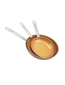 TOQUE 3 Pcs Ceramic Copper Non Stick Frying Pan Set
