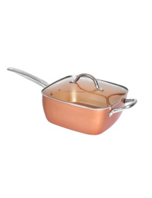 Square Shape Ceramic Copper Non Stick Frying Pan with Lid