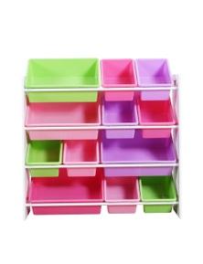 Levede 4 White Tier Wooden Kids Toy Organizer Bookshelf With 12 Plastic Bins